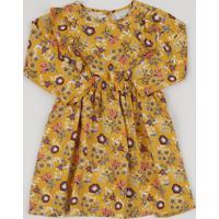 Vestido Infantil Estampado Floral Manga Longa Com Babado Amarelo