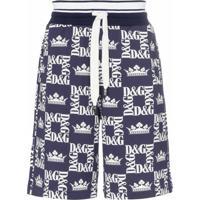 Dolce & Gabbana Bermuda Com Estampa De Logo E Coroa - Azul