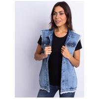 Colete Feminino Longo Jeans