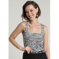 Regata Feminina Estampada Animal Print Zebra Decote Reto Off White
