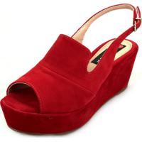 Sandália Anabela Love Shoes Média Fechada Uncle Boot Nobuck Vermelho