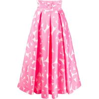 Sara Battaglia Floral Print Belted Skirt - Rosa