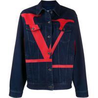 Valentino Jaqueta Jeans Com Logo - Azul