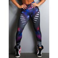 Legging Fitness Supplex Cós Alto Hard Core Multicolor