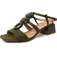 Sandália Damannu Shoes Anita Suede Verde