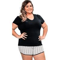 Pijama Short Doll Manga Curta Plus Size Luna Cuore - Feminino-Preto