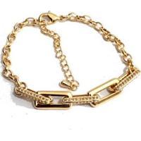 Pulseira Elos Quadrados Cravejados Banhada A Ouro - Feminino-Dourado