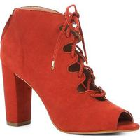 Ankle Boot Shoestock Nobuck Lace Up - Feminino-Caramelo
