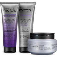 Combo Match Juventude Dos Fios Brancos Naturais: Shampoo Desamarelador 250Ml + Condicionador Desamarelador 250Ml + Máscara 250G