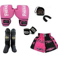 Kit Boxe Muay Thai Trad- Luva Bandagem Bucal Caneleira Shorts - Rosa/Preto