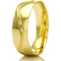 Aliança De Casamento Feminina Em Ouro 18K 750 Wm Joias 5,7Mm Com Zircônia F2297 - Feminino