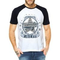 Camiseta Raglan Criativa Urbana Carro Clássico 1950 - Masculino-Branco