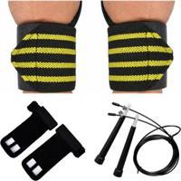 Kit Crossfit Corda Speed + Munhequeiras Profissional (Par) + Luva Hand Grip Couro (Par) - Unissex