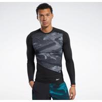 Camiseta Graphic Compression Preto Reebok - Masculino