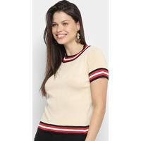Blusa Ms Fashion Tricot Color Block Feminina - Feminino-Bege