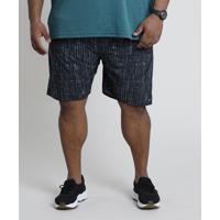Short Masculino Esportivo Ace Estampado Com Cordão Azul Marinho