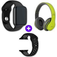 Kit Smartwatch Iwo10 44Mm Preto + Headphone Bluetooth P47 Verde