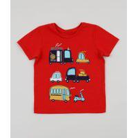Camiseta Infantil Carro Moto Caminhão Manga Curta Vermelha