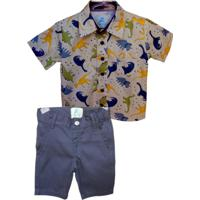Roupa Blue Kids Infantil Camisa Manga Curta Dinossauros E Bermuda Azul