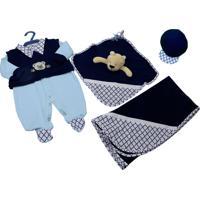 Saída De Maternidade Letícia Enxovais Naninha Dudu Azul Com Marinho