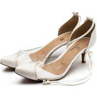 Sapato Feminino Scarpin Salto Baixo Em Napa Branca Com Transparência