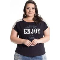 Blusa Miss Masy Viscolycra Com Estampa Frontal Plus Size - Feminino-Preto