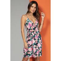 Vestido Clássico Com Transpasse Floral Rosa