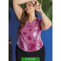 Blusa Feminina Manga Curta Estampada Rosa