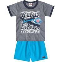 """Conjunto De Camiseta """"Wind Riders"""" + Bermuda Com Bolsos-Brandili"""