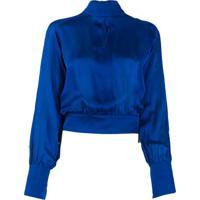 Balmain Blusa De Seda Com Gola Alta - Azul