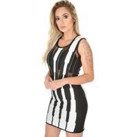 Vestido Livora Festa Curto Transparência Tricot Feminino - Feminino-Preto+Branco
