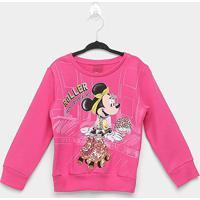 Moletom Infantil Cativa Disney Minnie Roller Feminina - Feminino-Pink