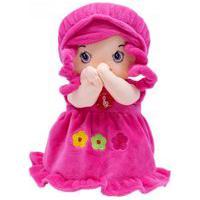 Boneca De Pano Que Reza Vestido Pink 24Cm