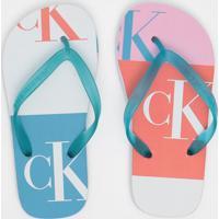 """Chinelo Texturizado """"Ck®""""- Branco & Azulcalvin Klein"""