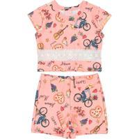 Conjunto Infantil Cropped E Short Rosa