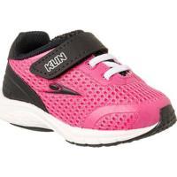 Tênis Infantil Klin Mini Genesis Velcro Feminino - Feminino-Pink+Preto