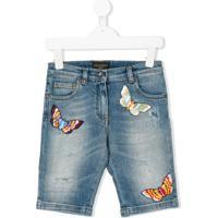 Dolce & Gabbana Kids Short Jeans Bordado - Azul