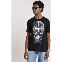 Camiseta Masculina Bbb Caveira Manga Curta Gola Careca Preta