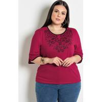 Blusa Bicolor Plus Size Bordô