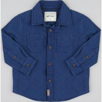 Camisa Infantil Chambray Texturizado Manga Longa Azul Escuro