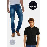 Kit 2 Peças Com Camisa Polo Premium E Calça Jeans Original Versatti Finlandia Azul