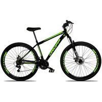 Bicicleta Aro 29 Quadro 17 Aço 21 Marchas Suspensão Freio A Disco Mecânico Preto/Verde - Dropp