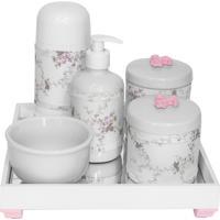 Kit Higiene Espelho Completo Porcelanas, Garrafa Pequena E Capa Flor De Liz Rosa Quarto Bebê Menina