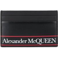 Alexander Mcqueen Striped Logo Cardholder - Preto