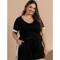 Blusa Plus Size Preta Com Recorte