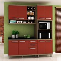 Cozinha Compacta New Vitoria 8 Pt 3 Gv Avelã Com Rubi