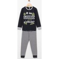 Pijama Infantil Estampa Game Brilha No Escuro - Tam 5 A 14