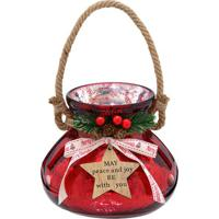 Lanterna Decorativa Natal- Vermelha & Bege Claro- 15Mabruk