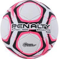... Bola De Futsal Penalty Brasil 70 R2 500 Ix - Branco Rosa 3725404d2f213
