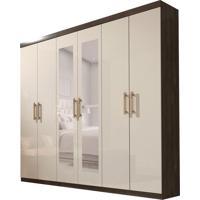Guarda-Roupa Casal Com Espelho Olimpo 6 Pt 3 Gv Cumaru E Off White